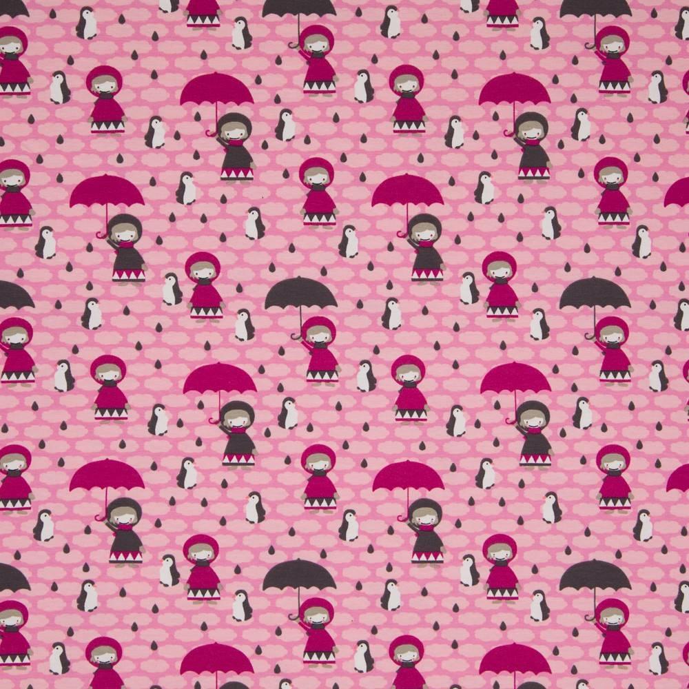 Jersey Mädchen Mit Schirm Rosa Kinderstoffshop